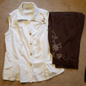 Women's Dressbarn outfit, shirt and capris size 16